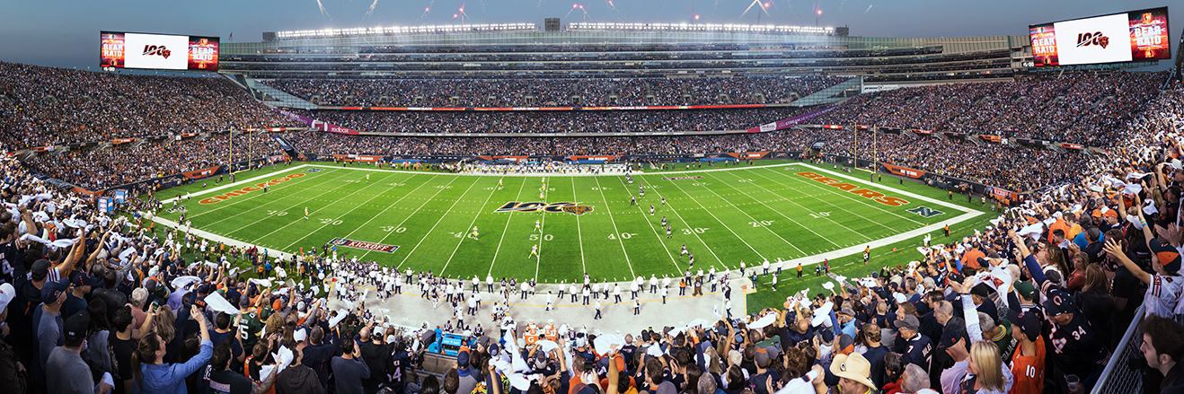 Chicago Bears Panoramic Poster - Soldier Field Picture - NFL Fan Cave Decor