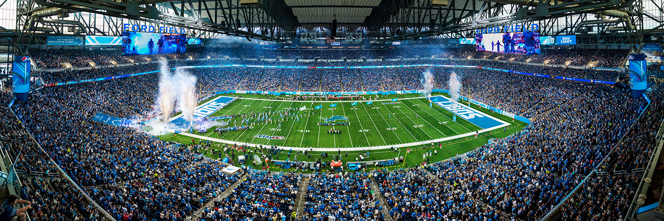 Detroit Lions Panoramic Picture - NFL Fan Cave Decor