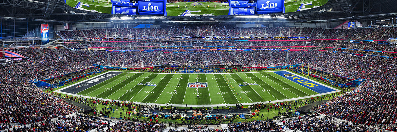 2019 Super Bowl LIII Panoramic Picture - New England Patriots vs. Los Angeles Rams Fan Cave Decor